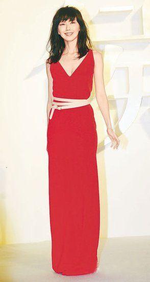 红色深V礼服