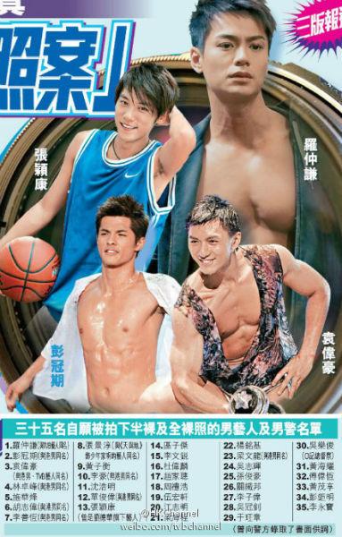 港媒曝光香港男艺人裸 照案中自愿拍下裸 照的艺人和警察名单