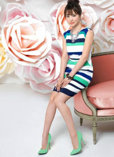 条纹背心裙 + 糖果色高跟鞋