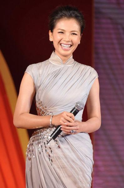 刘涛旗袍款式修身连衣裙