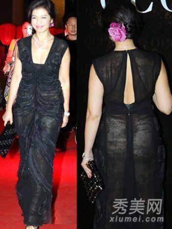 黑色的深V透视长裙