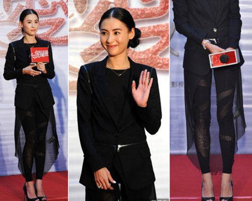 张柏芝:黑色外套 + 透视长裙 + 绑带legging