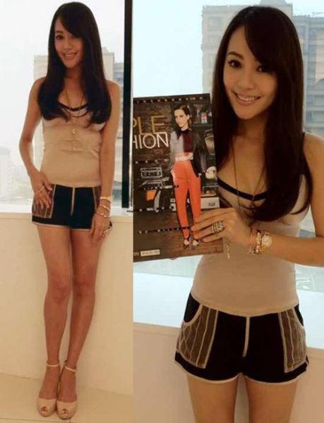 简约Look:裸色背心 + 拼接运动小短裤