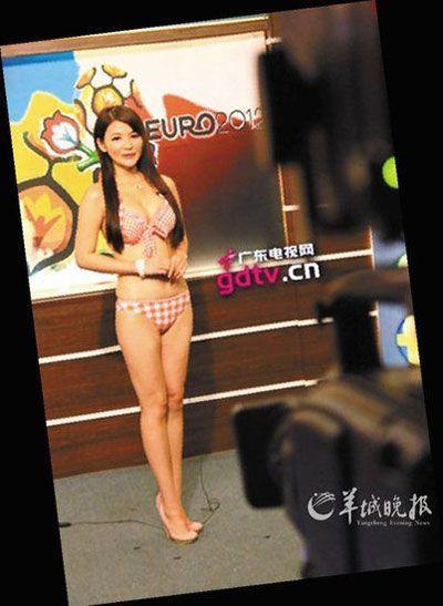 广东电视台体育频道大打美女牌,亮出性感火辣的比基尼女郎