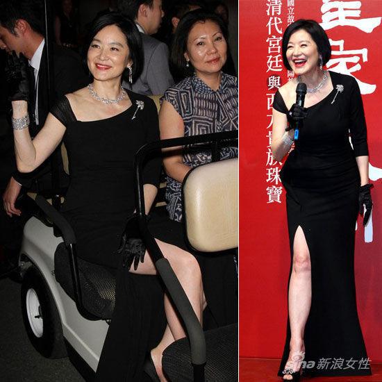 林青霞黑色高叉长裙显优雅