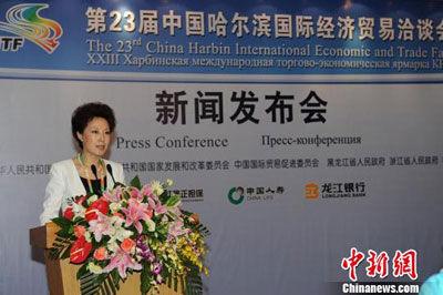 中共黑龙江省委对外宣传办公室主任谭宇宏向新闻记者讲解本届哈洽会相关情况。刘长山 摄