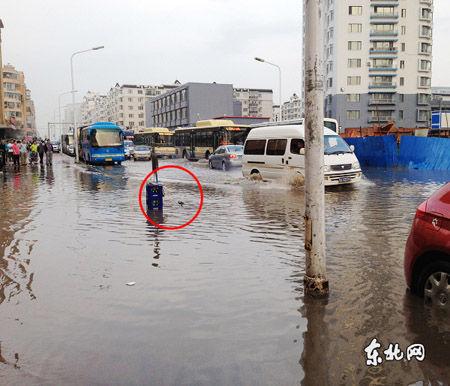 标记处为居民们口中几乎是附近唯一的排水口。东北网记者 陈静 摄