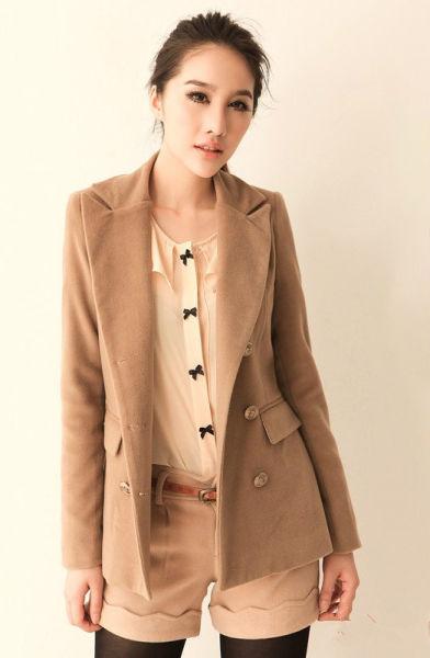 经典驼色呢子大衣