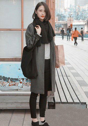 颇具格调的灰色呢子大衣