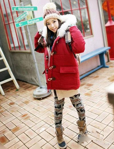 韩国女生示范棉服巧搭