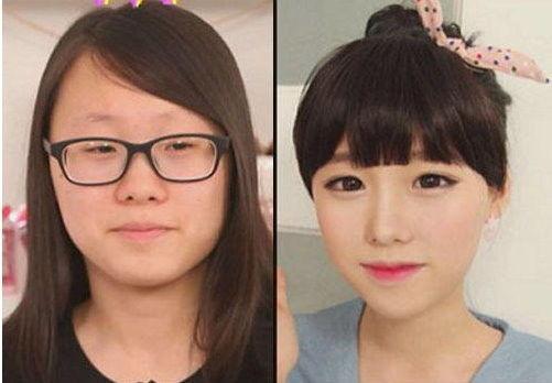 韩国网络美女卸妆 小脸变肿大眼变瞎