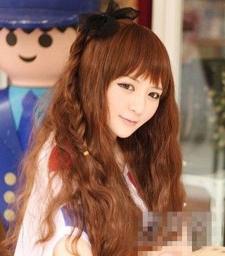 韩式时尚款泡面头发型图片
