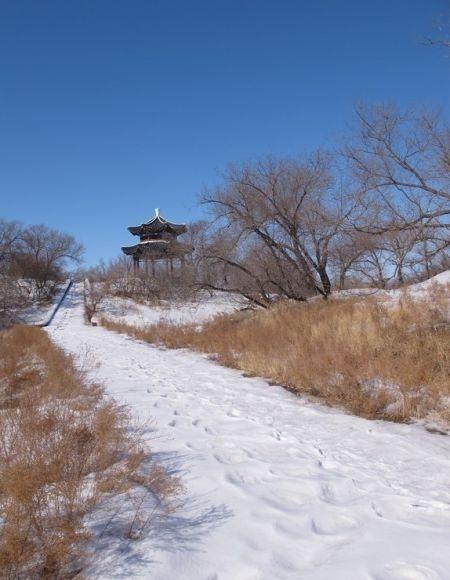 齐齐哈尔明月岛冬季景观