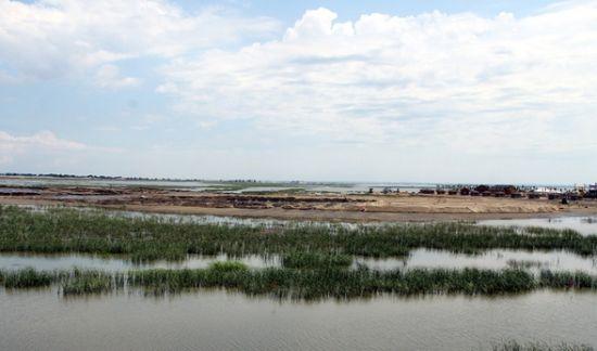 昨日,从呼兰河口湿地公园了解到,该景区将与市城管局合作开发建设省内最大的珍禽养殖放飞基地,这座占地5万平方米的人工鸟岛,预计明年4月建成。   昨日,来到呼兰河口湿地,登上主景区日月广场一侧的观鸟台,前方原本是一片香蒲丛生的湿地水域,现在已被围成了一个占地数平方公里的圆形沙坝。工程人员正将沙坝内的河水排干,随之搭建一座人工沙岛。该人工岛就是呼兰河口湿地公园与市城管局合作开发建设的河口湿地珍禽养殖放飞基地主址。现场施工人员告诉说,这座鸟岛陆上将建封闭式的鸟类驯养区和开阔的鸟类放飞区,浅滩滨水区将合