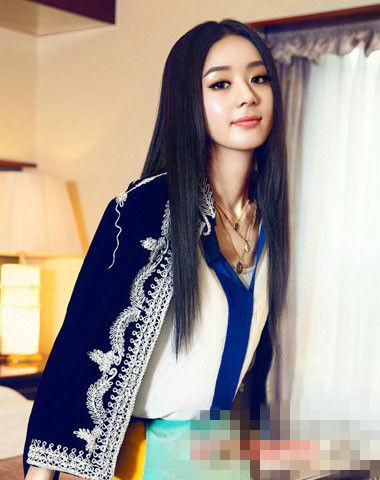 赵丽颖最新写真图片; 女星最爱气质中分长直发