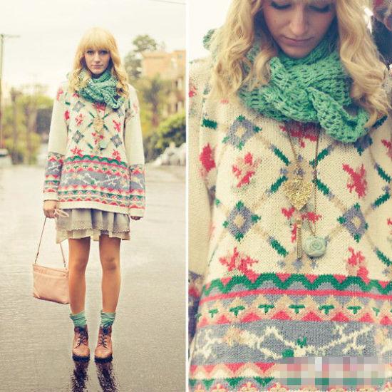 套头毛衣也能搭配短裙 秋装甜美显瘦最HOT