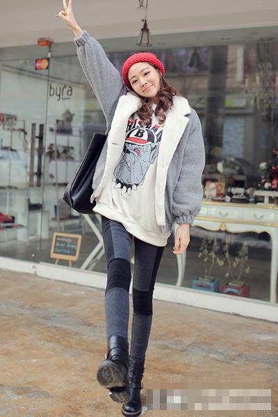 冬季套头卫衣搭配棉服,小清新的韩范穿法 穿搭