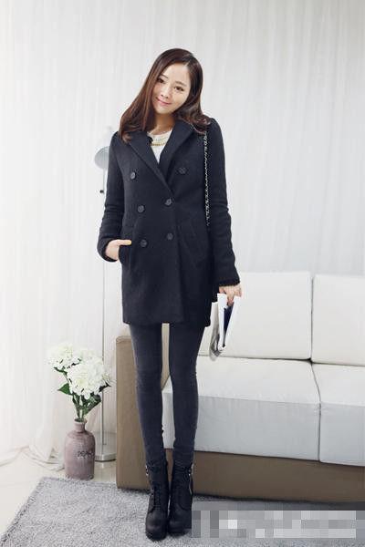 黑色呢子大衣搭配 胖mm冬季经典穿衣搭配
