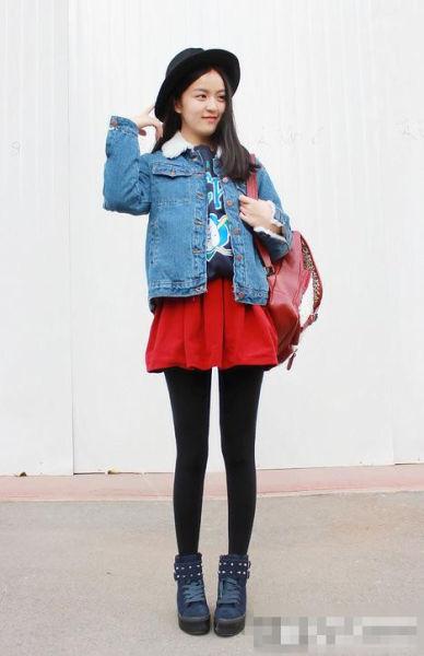 韩系女生短外套棉衣搭配