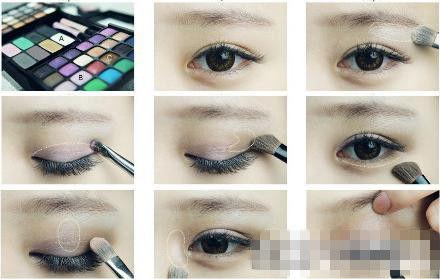 以下分享咖啡色眼影大眼妆画法