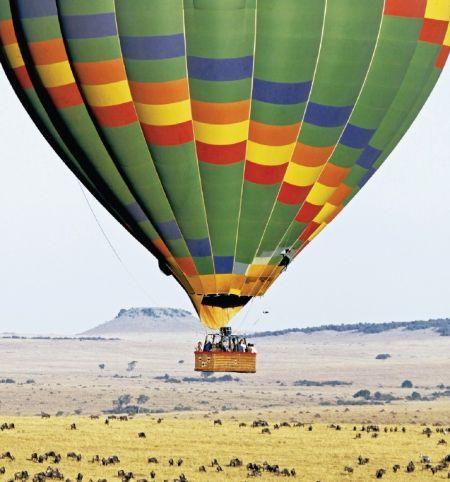 大象热气球简笔画带颜色
