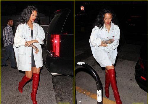 蕾哈娜个性红靴亮眼满手纹身土豪范十足