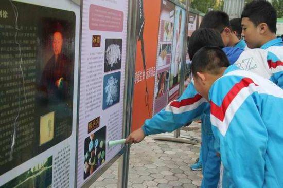 学生观看禁毒展板