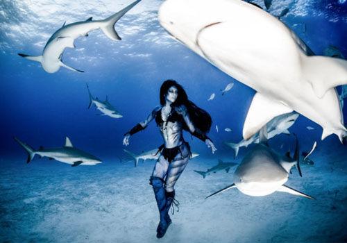 美女模特穿比基尼与虎鲨群海底共舞