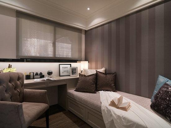 卧室装修效果图大全2014图片,让书房随时可以转为客房使用.