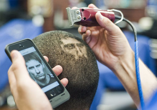 世界杯流行发型梅西画头上