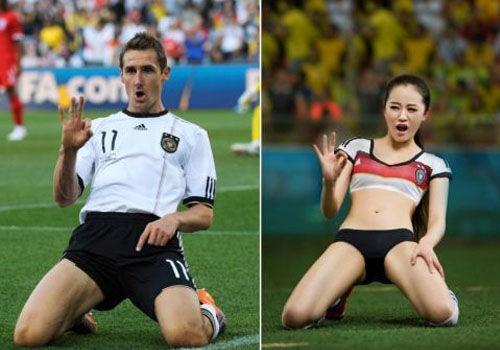 性感足球宝贝还原世界杯经典瞬间