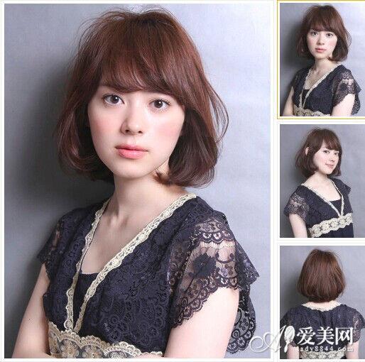 头发颜色:棕色   中长款的梨花头造型给人一种层次感强烈的效果