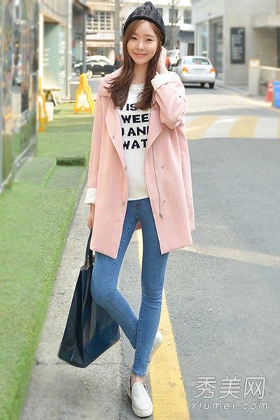 粉色 风衣