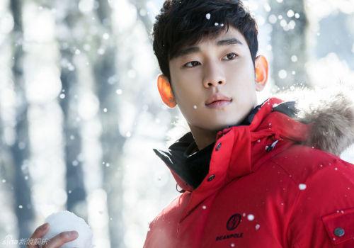 金秀贤新西兰拍写真雪中红装太帅气