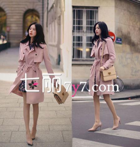 藕粉色风衣外套