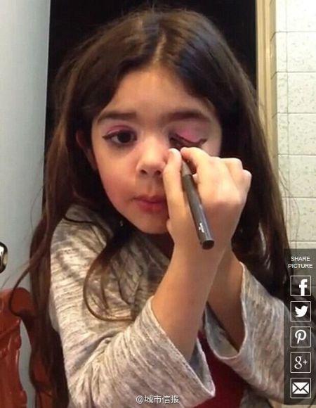 5岁女孩视频教化妆 手法娴熟引争议组图